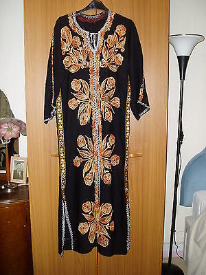 Black long straight maxi cotton dress.Embroidered flowers.Long sleeves.