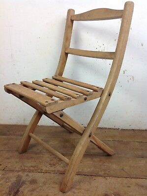 Vintage Wooden Folding Child's Chair Teddy Bear Old Seating