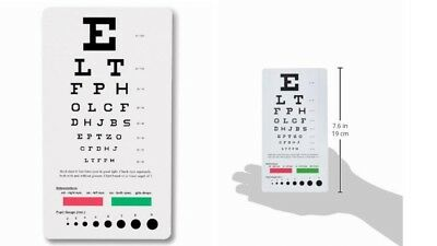 Snellen Pocket Eye Chart with Pupil Gauge Eyes Measuring Devices Mini Size New