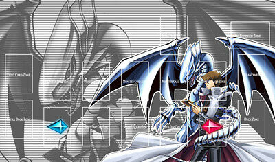 D397# Free Mat Bag Yugioh TCG Playmat Kaiba Seto Blue-Eyes White Dragon Zones