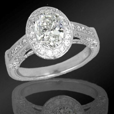 2.10 Carat Oval Cut Diamond Antique Engagement Ring Solid 10k White Gold