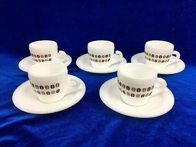 Set of 5 Espresso Coffee Cup And Saucer Duo Retro White Short Black Milk Glass