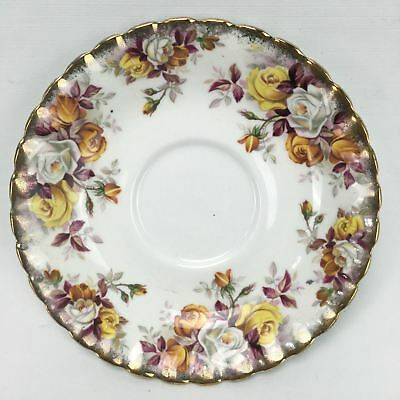 Royal Albert LENORA Floral Roses Gold Gilt MADE IN ENGLAND Bone China Tea Saucer