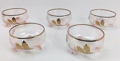 5 Piece Vintage Pink Footed Blown Glass Dessert Bowl Set Gold Flashing Etched