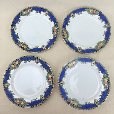 Vintage 4x Art Deco E Hughes Somerset Side Plates Fruit Blue 30s Staffordshire