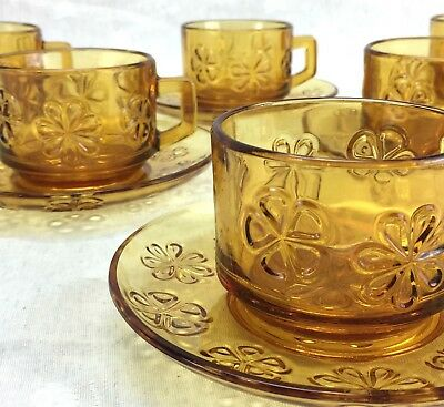 12 Piece Set of 6 Tea Cup And Saucer AMBER Pressed Glass Embossed Daisy Flower