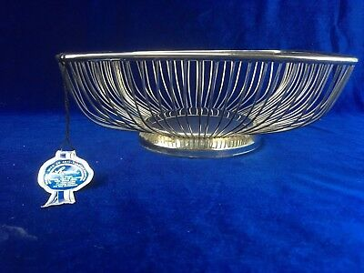 Leonard Silver Plated Wire Art Deco Fruit Bowl Original Tag 1980s Hong Kong