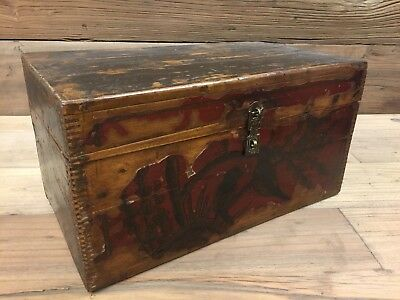 Antique Chinese Hand Painted Wooden Storage Chest Box