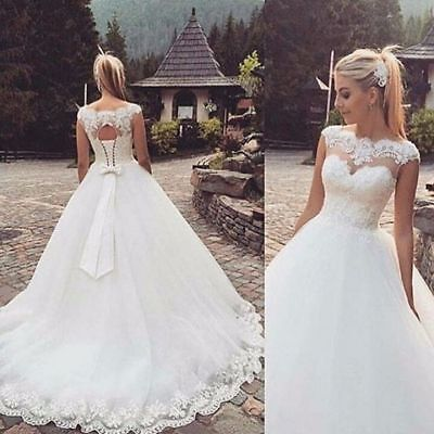 New A-Line White/Ivory Lace Up Of Back Wedding Dress Bridal Gown Stock Size 4-20