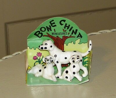 Vtg Bone China Miniatures Dalmation Dog Mother and Pups on Card Excellent!