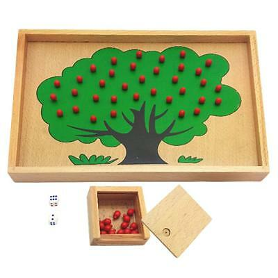 Wooden Montessori Material Apple Tree Counting Game Kids Educational Toys