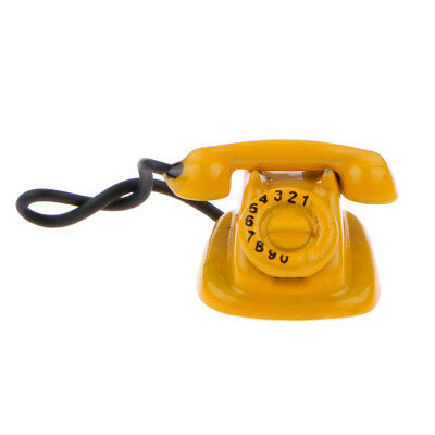 1:12 Yellow Old Style Telephone Dolls House Miniature Accessory Phone