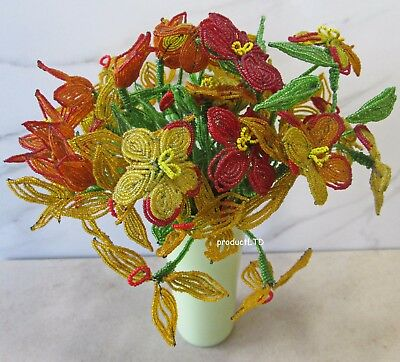 5 Spray Bouquet Of Antique French Beaded Flowers In Vase