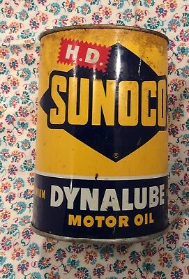 Vintage Dynalube Sunoco 1 Quart Oil Can-All Tin-Empty Top Removed