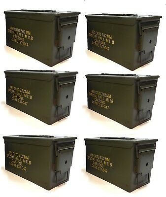 6 Pack M2A1 Surplus 50cal Size Metal Ammo Cans/Ammo Box