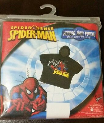 Marvel Spiderman Kids Hooded Rain Poncho - one size fits most NEW MIP