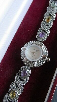 """New in Box Lucoral Marcasite Watch ,Art Deco Style Quartz , """" Just Beautiful """""""