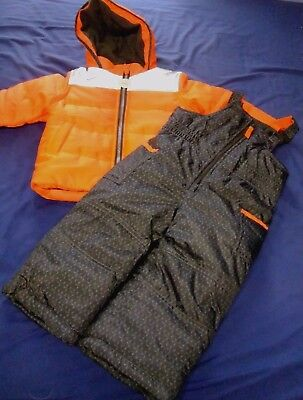 CARTER'S 24 Months Boys 2 Piece NWT Winter Coat Snow Bib Pants Neon Orange Gray