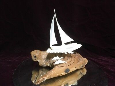 JOHN PERRY sculpture of a LG. Sail Boat & Dolphin on large beautiful BURL WOOD.