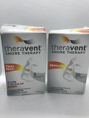 Theravent Snore Therapy Micro Valve Nose Strips 20 Regular+Trial Pack Lite,Max