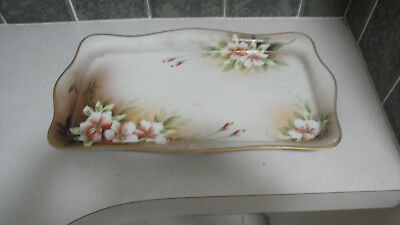 Nippon Vanity tray dresser Dusty Rose white flowers M wreath Mourimura gold bead
