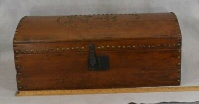 antique box trunk brass tack dome top wood decorated early 19th c original 1800