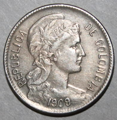 Colombian 5 Pesos Papel Moneda Coin, 1909 AM - KM# 279 Colombia Five Liberty Paz
