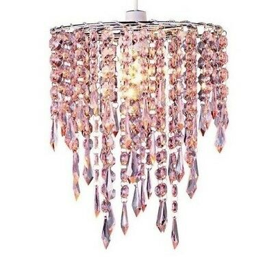 Blush Pink Acrylic Crystal Jewel Drops Ceiling Pendant Light Shade Chandelier