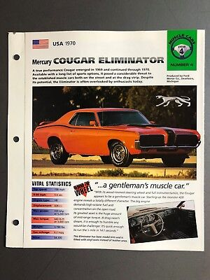 "1970 Mercury Cougar Eliminator IMP ""Hot Cars"" Spec Sheet Folder Brochure Awesome"