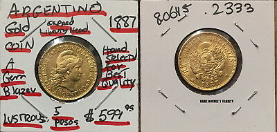 Argentina 1887 [Rare Double 7] 5 Gold Peso-Authentic Date Not Random--High Grade