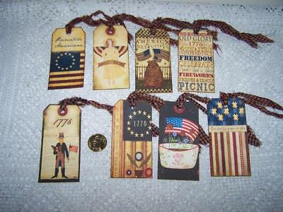 Primitive~4th of July~Americana~Linen Cardstock~Gift~Hang~Tags