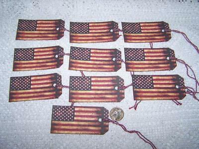 Primitive~4th of July~American Flag~Linen Cardstock~Gift~Hang~Tags