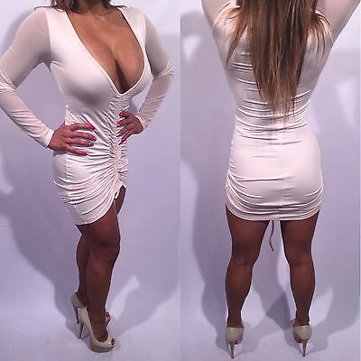 783d7ee919cc Connie's Exclusive Semi Sheer With See Thru Mesh Sleeves Beige Mini Dress L