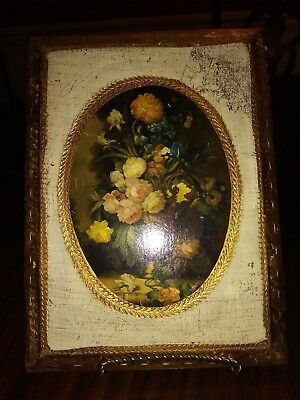 Florentine Wall Plaque Floral Arrangement 6x8 Ready to Hang Italy Vintage