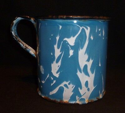 Vintage Blue & White Swirl Enamelware / Graniteware Cup or Mug - 3 inches