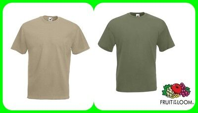 T-SHIRT FRUIT OF THE LOOM,VERDE OLIVA-COLONIALE SABBIA,caserma,esercito,softair