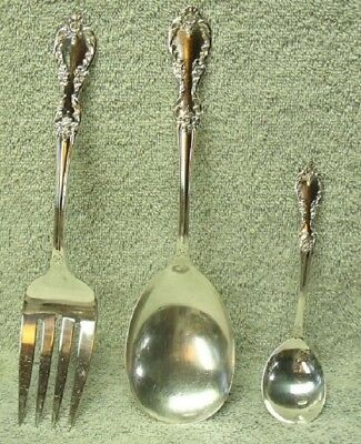 Vintage 3 Pc Wm Rogers Mfg Co Silver Plate 1950s ~ Grand Elegance ~