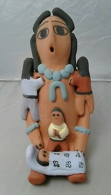 "Navajo Native American Indian pottery storyteller 4 kids signed 6.5"" tall"