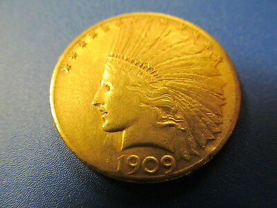 1909-S Gold Ten Dollar Indian Head Eagle Coin - Looks In Fine Condition At Least