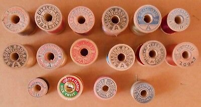 LOT-Vtg WOODEN SPOOLS of SILK-BUTTON HOLE TWIST-THREAD