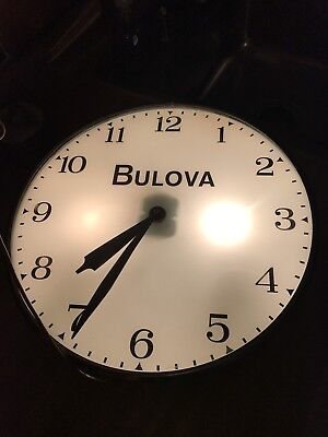 Vintage Original Bulova Watches Lighted Advertising Pam Clock Bubble Glass Works