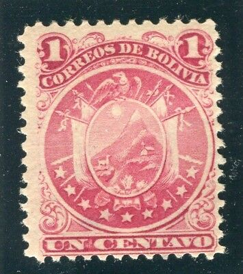 BOLIVIA; 1890 classic Perf issue Mint hinged 1c. value