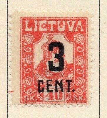 Lithuania 1922 Early Issue Fine Mint Hinged 3c. Surcharged 227666