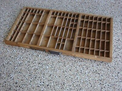 Antique PRINTERS TYPESET DRAWER Wood Tray Shadow Box Divided Hanging 32 x 17