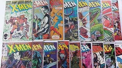The Uncanny X-Men Lot of 17 Copper Age Boarded Comics (1986-1996)