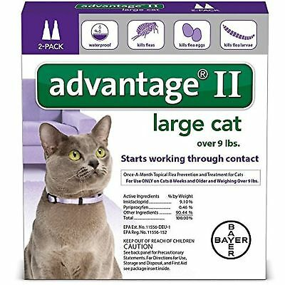Bayer Advantage II For Large Cats over 9 lbs 2 Pk (comes w/box) US EPA APPROVE!!