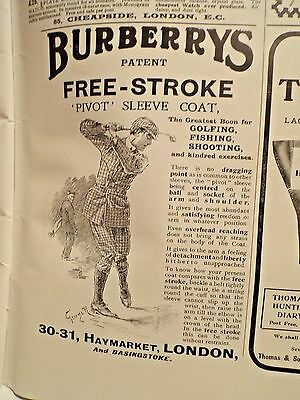 1902 - BURBERRYS Golf Coat ad LONDON === FREE POSTAGE in the USA