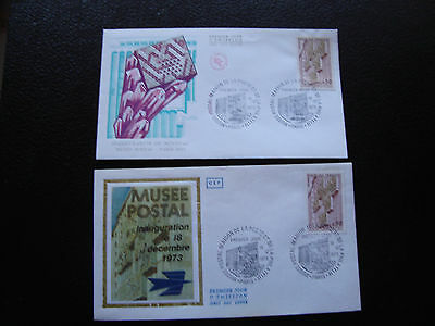 FRANCE - 2 envelopes 1st day 19/12/1973 (museum postal) (cy83) french
