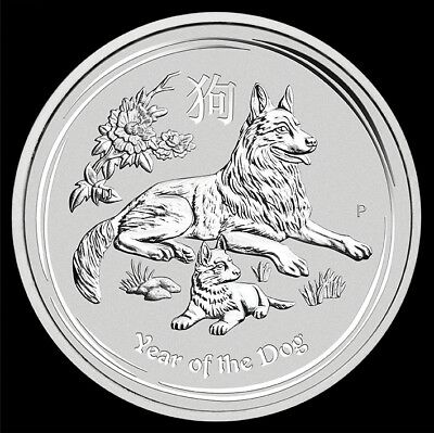 Silver Coin Lunar II Dog 5oz 5 ounces 2018 Silver Dog The Perth Mint Cane Perro