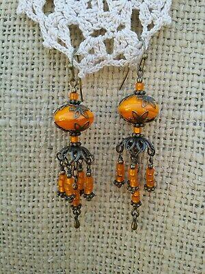 Vintage Victorian Style Earrings Orange Lampwork Bead Chandelier Dangle Drop *